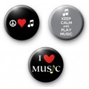 Set of 3 Music Lovers Badges