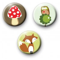 Set of 3 Woodland Creatures Badges