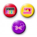 Set of 3 Sewing Craft Button Badges