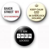Set of 3 Sherlock Holmes Button Badges