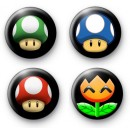 Set of 4 Super Mario Symbol Badges