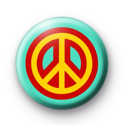 Yellow and Red Peace Button Badges