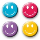 Set of 4 Smiley Face Button Badges