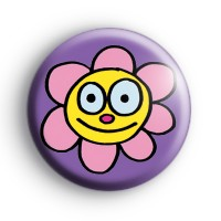 Happy Smiley Face Flower Badge