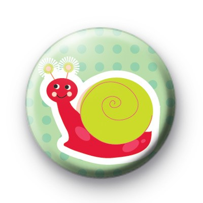 Happy Smiley Snail Button Badge