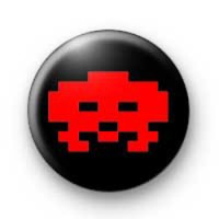 Retro Space Invader Red badges