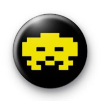 Retro Space Invader Yellow badges