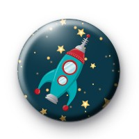 Space Rocket Button Badges