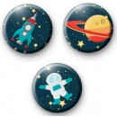 Set of 3 Space Button Badges