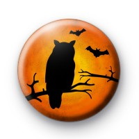 Spooky Owl and Bats Halloween Badges