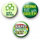Green Set of 3 St Patrick's Day Badges