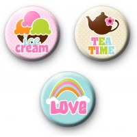 Set of 3 Summer Time Button Badges