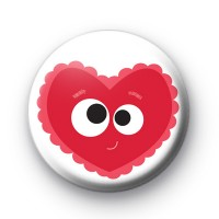 Super Cute Valentines Heart Face Badge