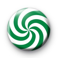 Swirly Green and White Candy Cane Badge