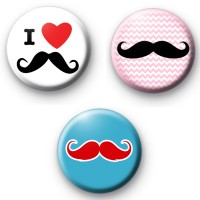 Movember Moustache Set of 3 Badges