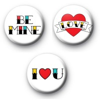 Set of 3 Tattoo Valentine's Day Badges