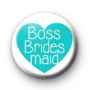 Teal Heart Boss Bridesmaid Badge