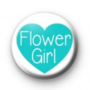 Teal Heart Flower Girl Button Badge