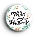 Traditional Merry Christmas Button Badge