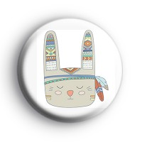 Tribal Pattern Bunny Rabbit Badge