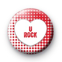 U Rock Red Love Heart Badge thumbnail