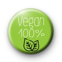 Green and White Vegan 100% Button Badges