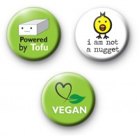 Set of 3 Vegan Pin Badges