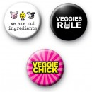Vegetarian Set of 3 button badges