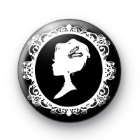 Victorian Cameo Lady All in Black badge