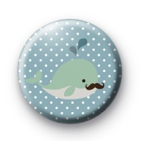 Cute Whale Moustache Badge