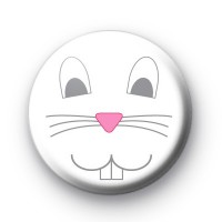 White Bunny Rabbit Face Button Badge