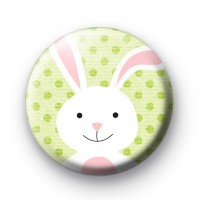 Fluffy White Easter Bunny Badges