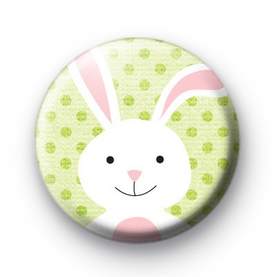 Fluffy White Easter Bunny Badge
