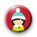 Cute Festive Winter Girl Badge