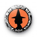 Black and Orange Witch Badge