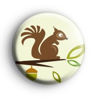 Cute Woodland Squirrel Button Badge
