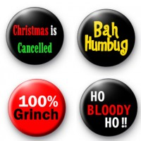 Set of 4 Christmas Grinch Badges