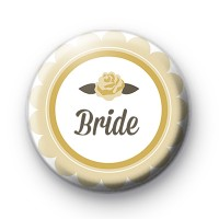 Yellow Rose Bride Button Badge