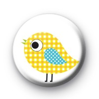 Yellow Gingham Bird Button Badge