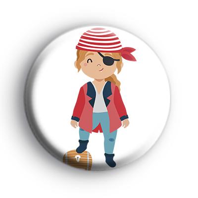 Pirate Girl Treasure Chest Badge