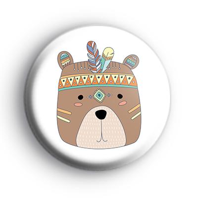 Tribal Pattern Brown Bear Face Badge