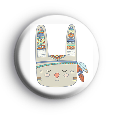 Tribal Pattern Bunny Rabbit Badge