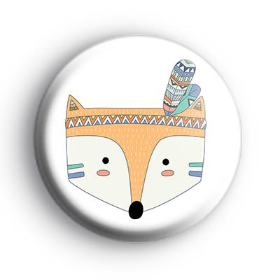 Tribal Pattern Foxy Fox Face Badge