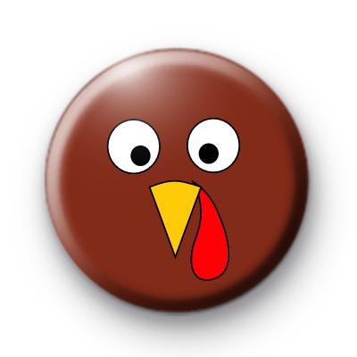 Turkey Face Button Badge