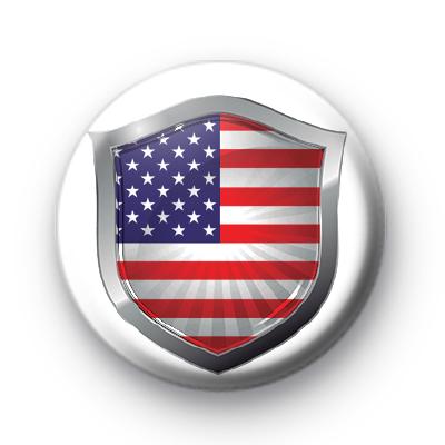 USA Flag Crest Button Badge