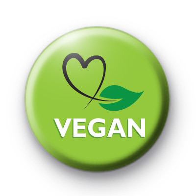 Green Vegan Button Badges