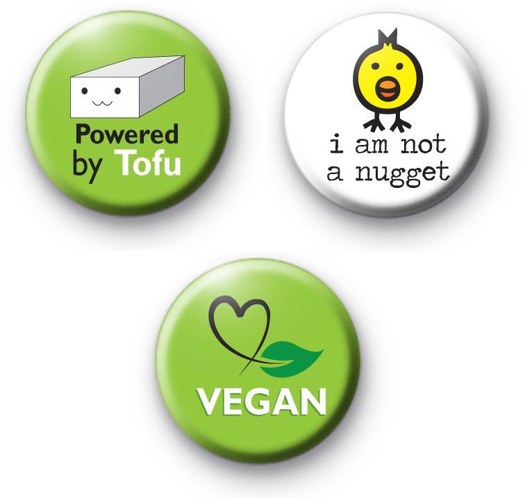 Set of 3 Vegan Pin Badges