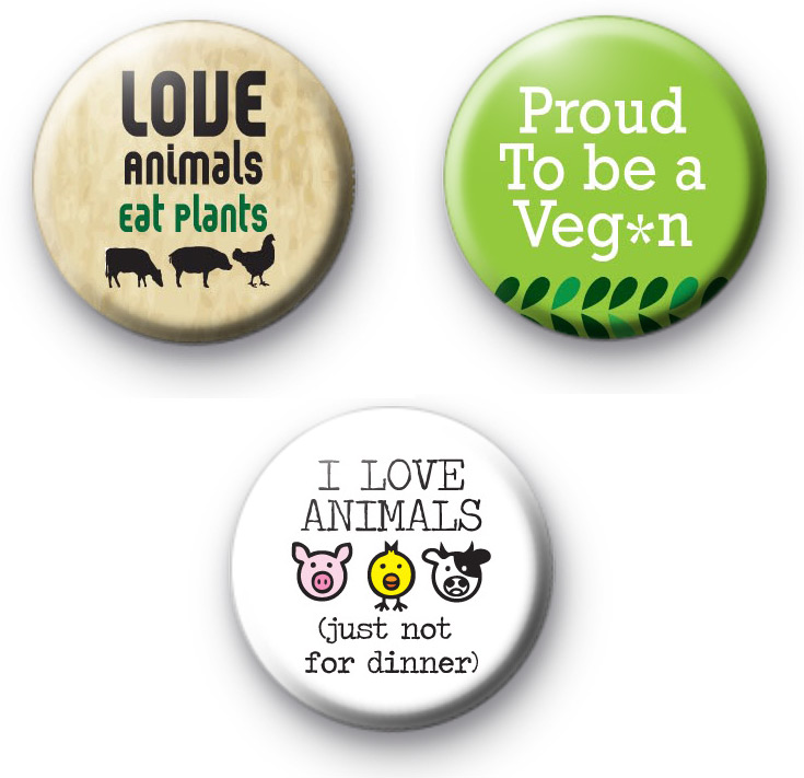 Set of 3 Vegan Food Badges