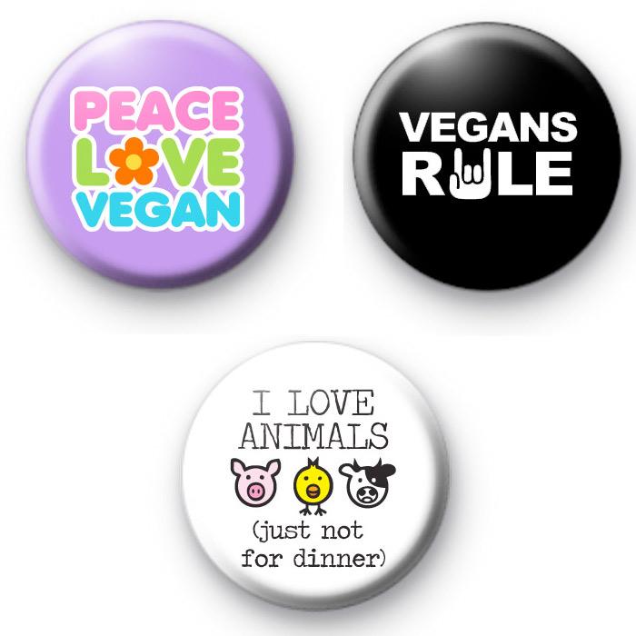 Cute Set of 3 Vegan Food Button Badges