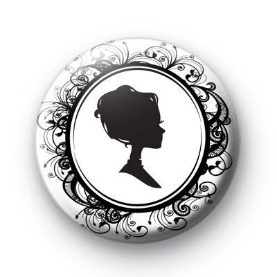 Victorian Cameo Lady Black and White badge